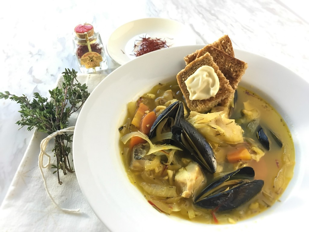 French Seafood Stew (Bouillabaisse) made with saffron