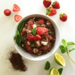 Kaniwa salad with strawberries goat cheese mint