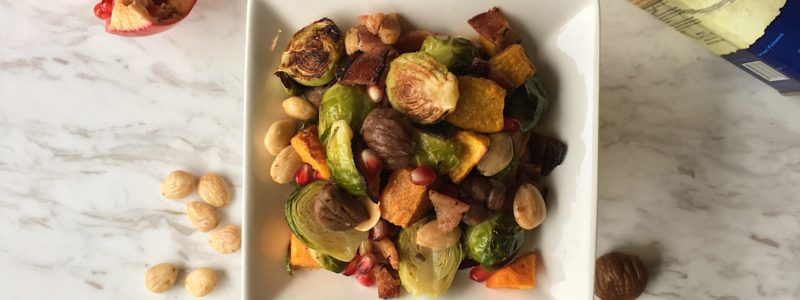 Brussels Sprouts, butternut squash, Matiz Chestnuts Salad